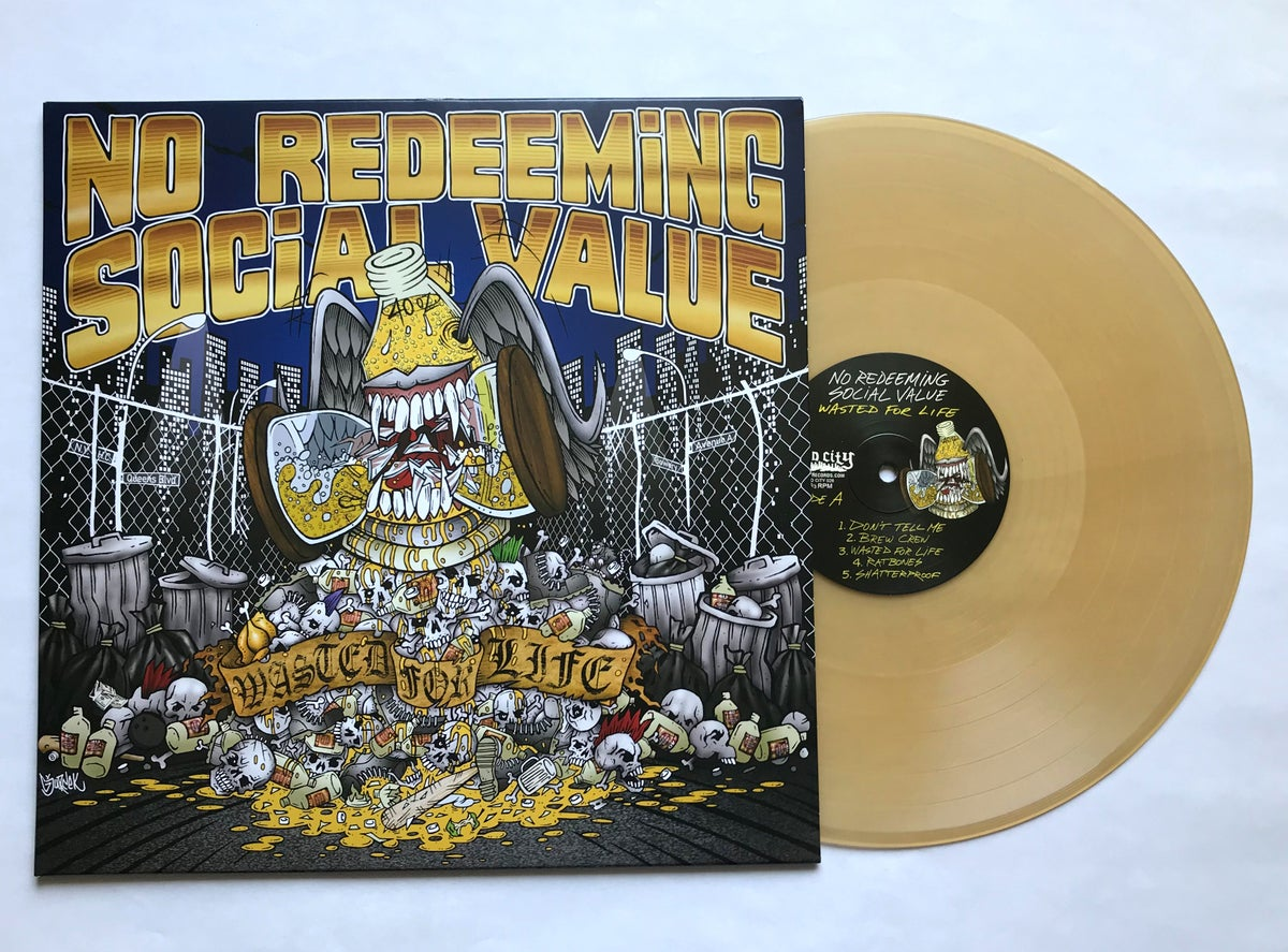 "Image of NO REDEEMING SOCIAL VALUE ""Wasted For Life"" LP! Beer Colored Vinyl"