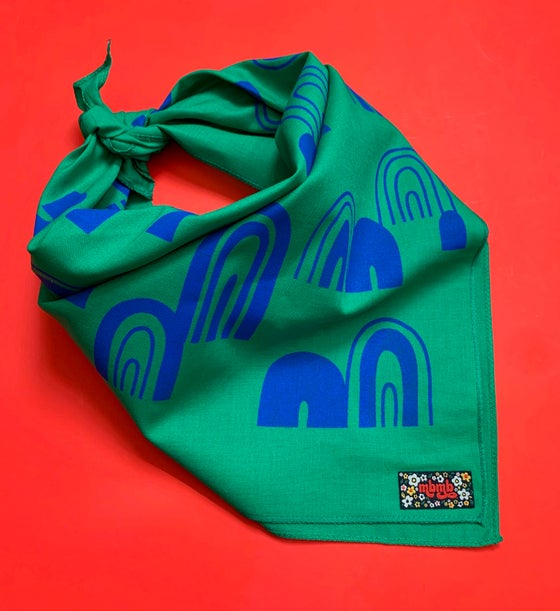 Image of Rainbow Print Bandana in Kelly Green and Royal Blue