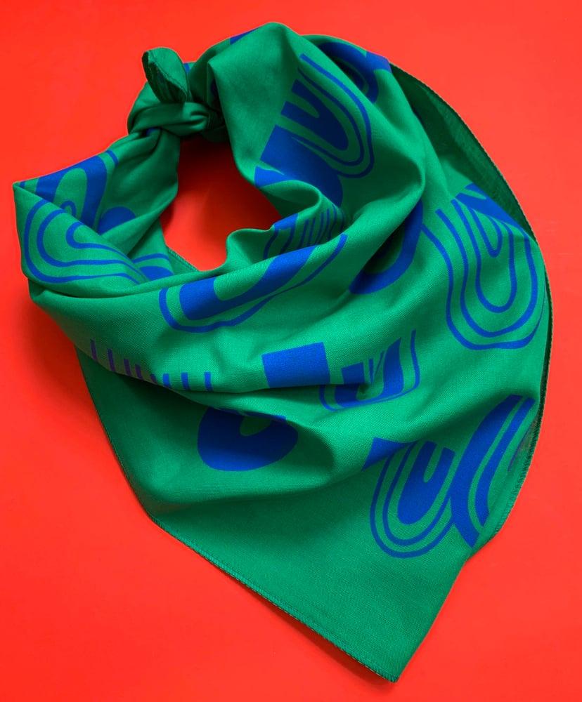 Image of Rainbow Print Bandana in Kelly Green and Royal Blue