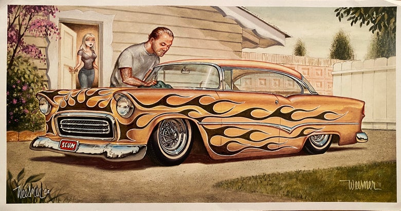 "Image of Modified Rare Litho Print of ""Tequila"" Chevy"