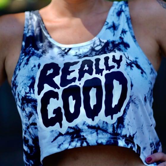 Image of Really Good Womans Tie Dye Crop Tank Top  Karimo Logo LTD