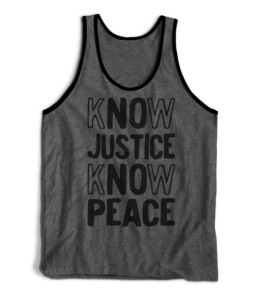 Image of Know Justice, Know Peace heather grey tank top