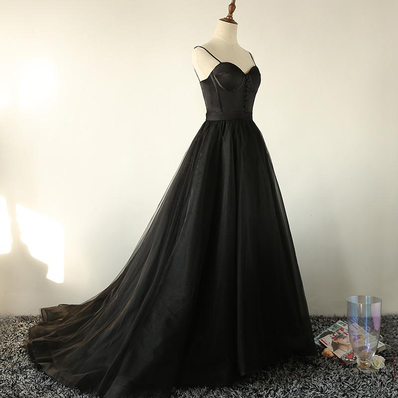 Black Tulle Straps Long Prom Dress, Black Evening Gown