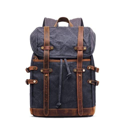 Image of Handmade Waxed Canvas Backpack Rucksack Travel Hiking Backpack MC9159