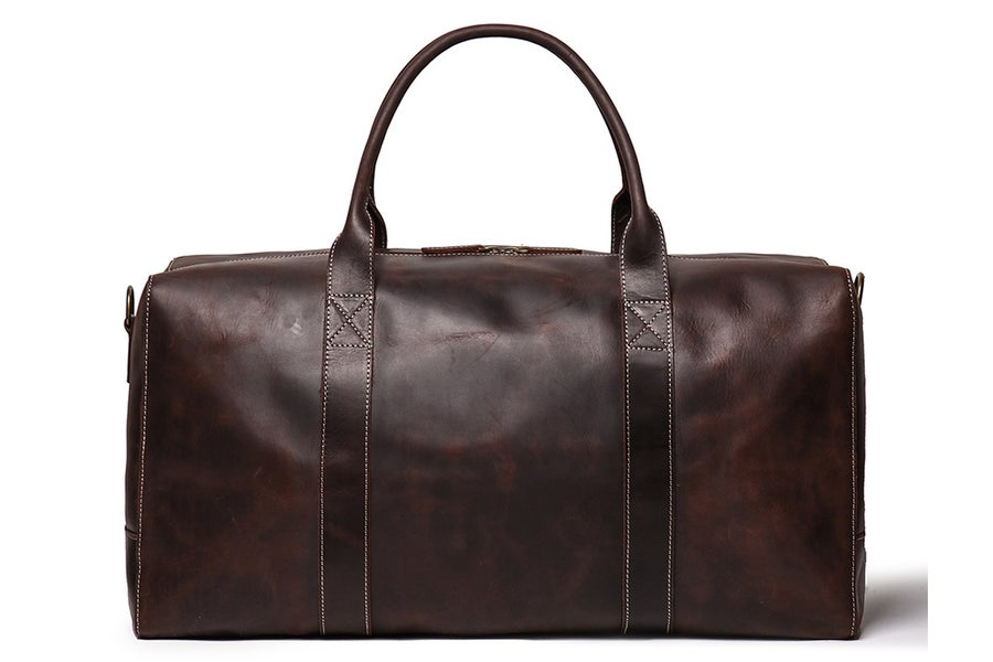 Image of Vintage Genuine Leather Duffel Bag, Travel Bag, Overnight Weekend Bag LJ1004