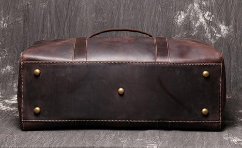 Image of Vintage Genuine Leather Duffel Bag, Travel Bag, Overnight Weekend Bag LJ1004
