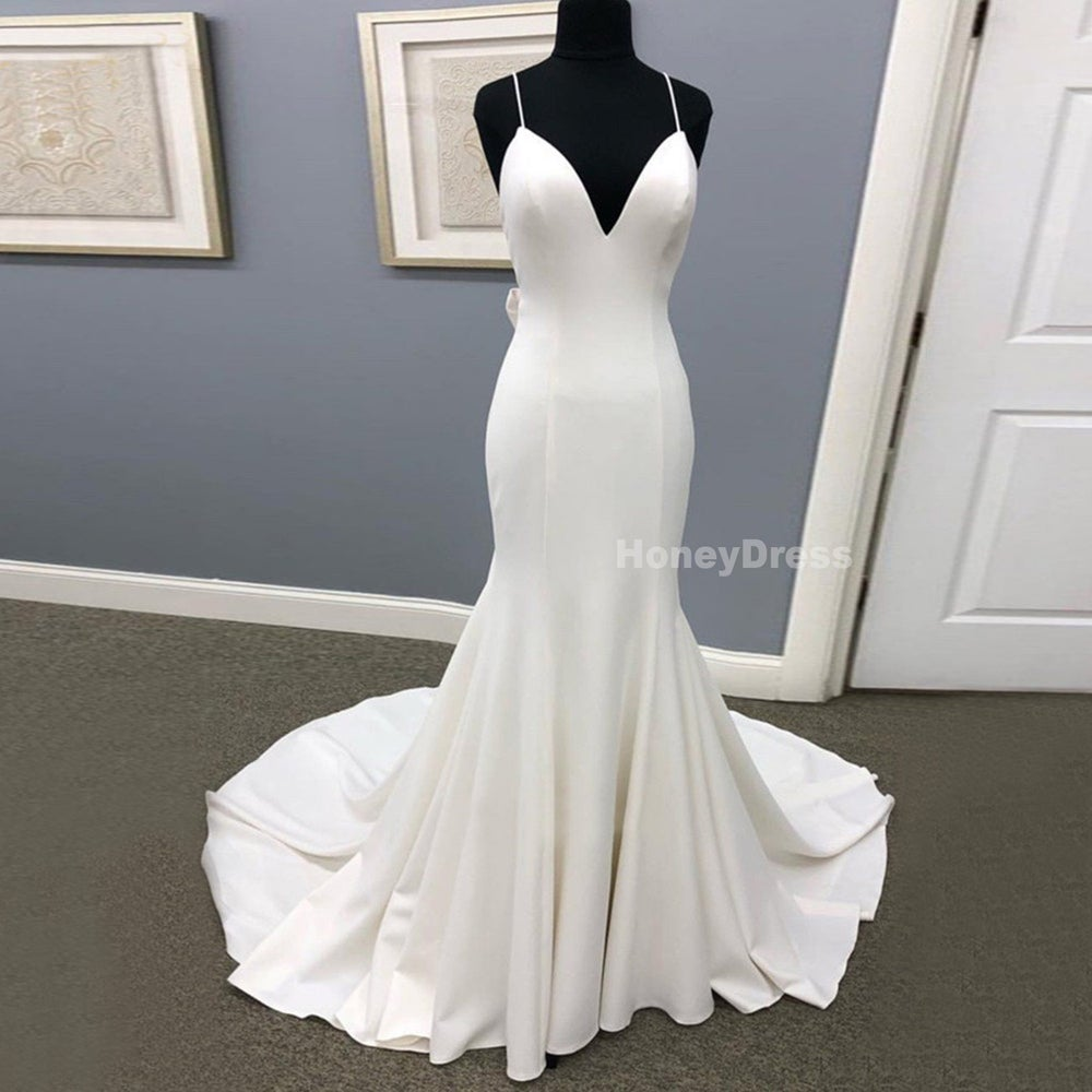 Image of Spaghetti Strap Ivory Satin V-Neck Long Bridal Gown, Mermaid Backless Formal Dress With Long Train