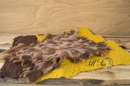 Image of Newborn Prop Set (SET 48). 3 x Felted Layers: Brown and Yellow and brown with furry spots. RTS