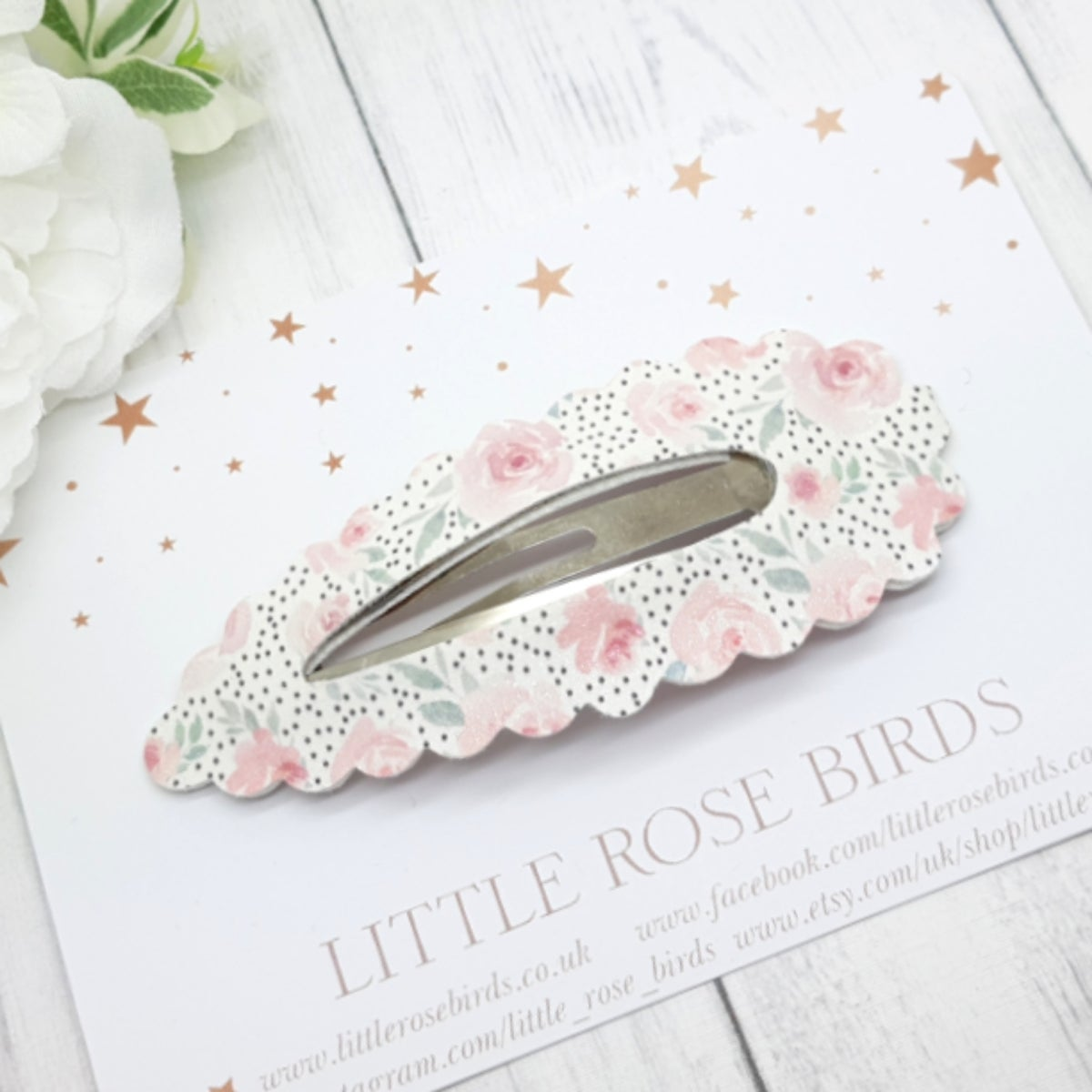 Image of Large Dotty Floral Snap Clip