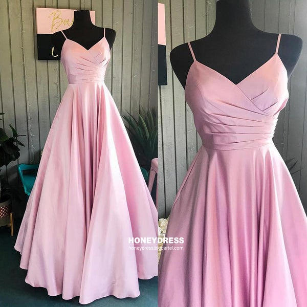 Image of Simple Pink Satin Sweetheart A-Line Prom Gown, Spaghetti Strap V-Neck Prom Dress With Pleats