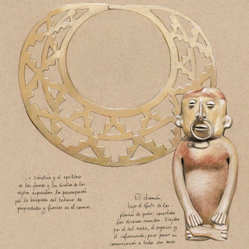 "Image of Original Painting - ""Museo del oro 1"" - 28x28 cm"