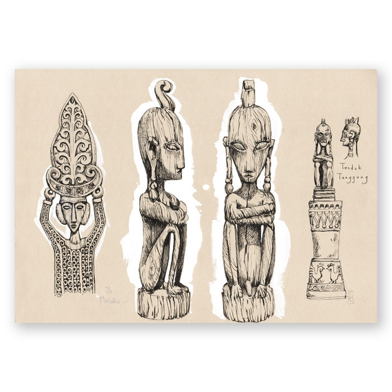 "Image of Original Painting - ""Sculptures de Malekulu - Timor"" - 30x42 cm"