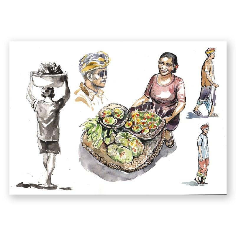 """Image of Original Painting - """"Scène de vie balinaise"""" - 30x40 cm"""