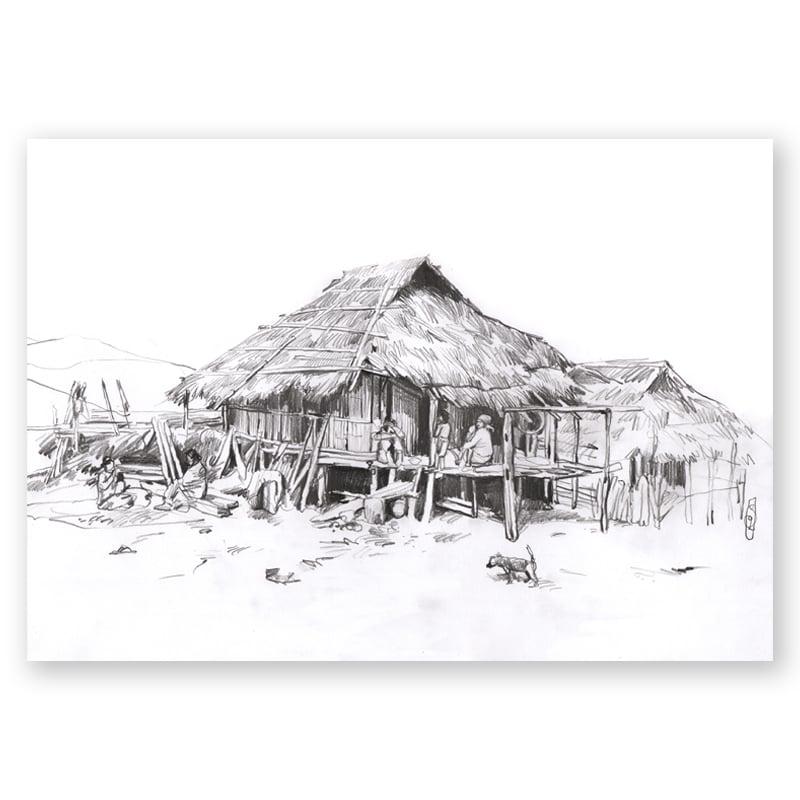 """Image of Original Painting - """"Dans un village Lahu-shi"""" - 20x30 cm"""