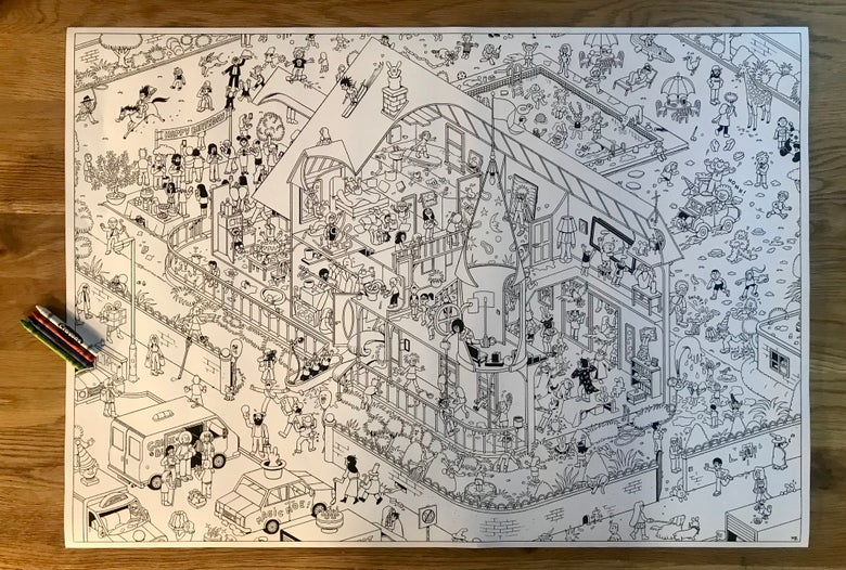 Image of Giant Colouring-In Poster 'The Birthday Party'