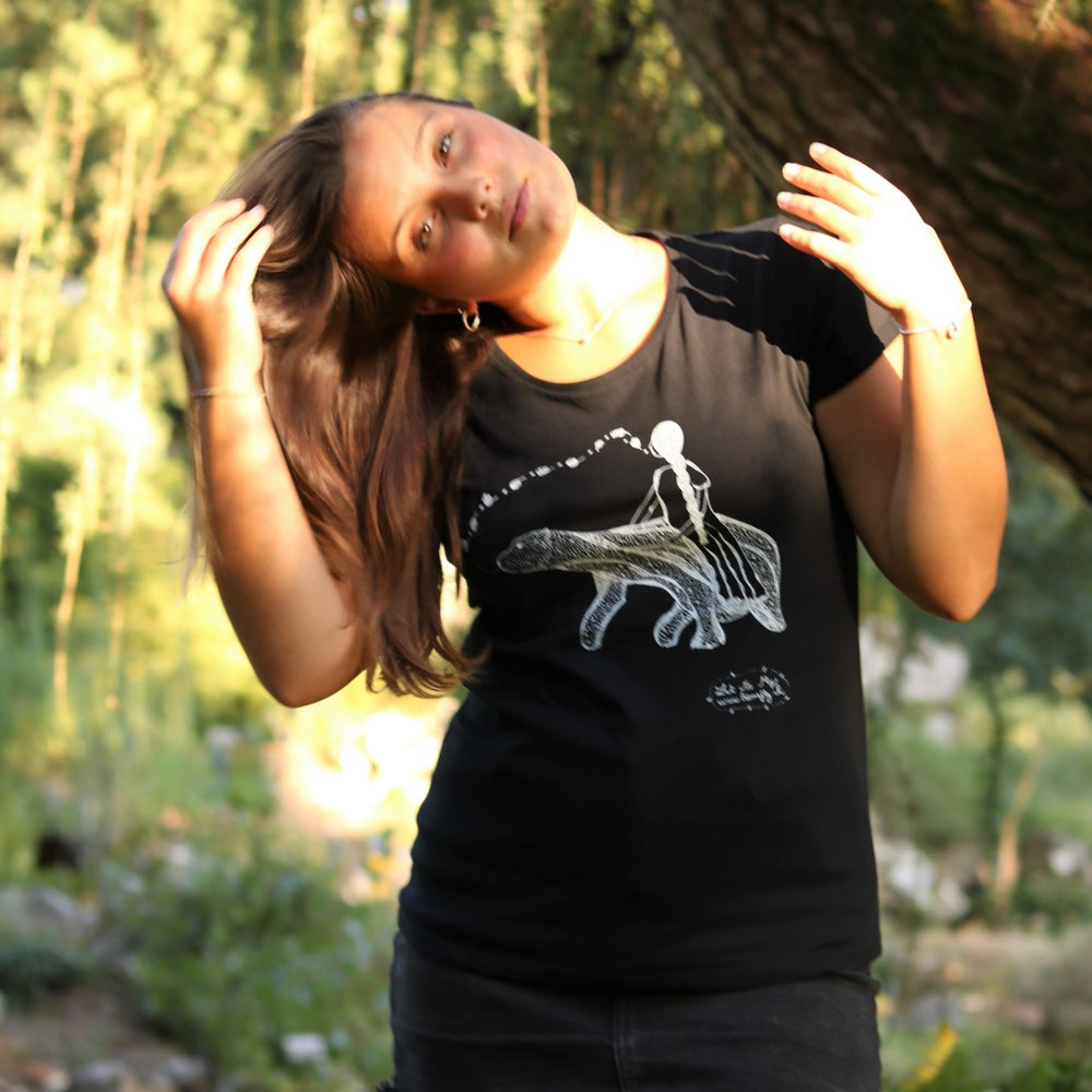 Image of Woman Tee-shirt *Poetic Bear & a dreaming Woman*
