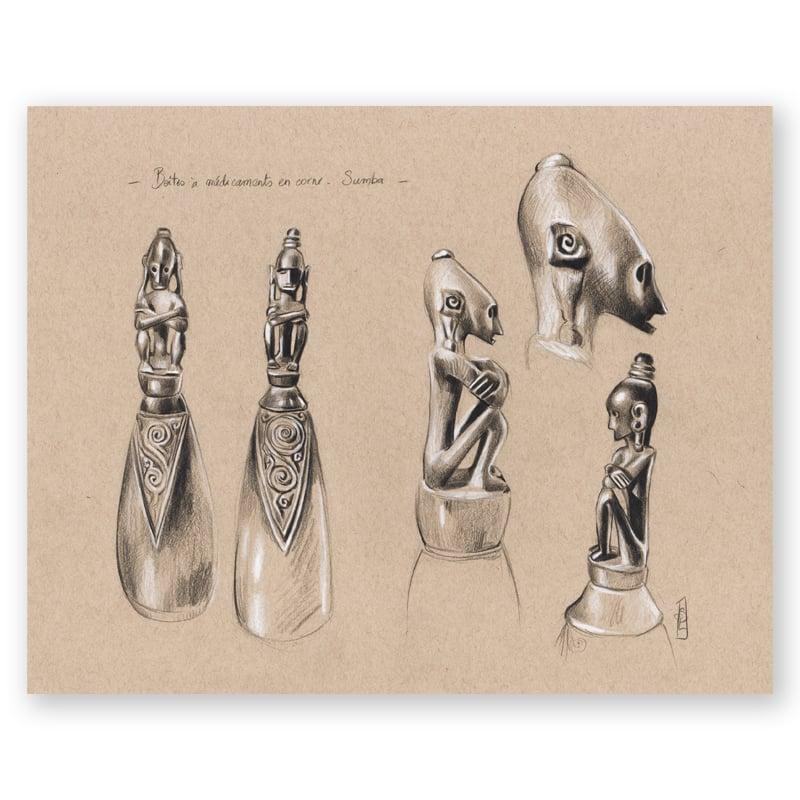 """Image of Original Painting - """"Boîtes à médicaments de Sumba"""" - 28x35,5 cm"""