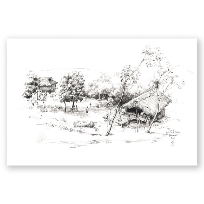 "Image of Original Painting - ""Trek en territoire Chin"" - 29,5x42 cm"
