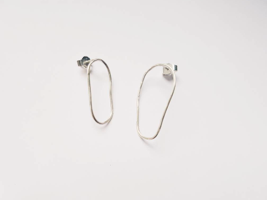 Image of Organic Shaped Silver Earrings
