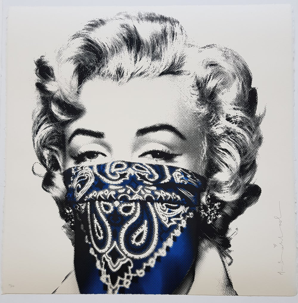 """Image of MR BRAINWASH """"STAY SAFE"""" BLUE - LIMITED EDITION 50 - 2 COLOUR SCREENPRINT"""