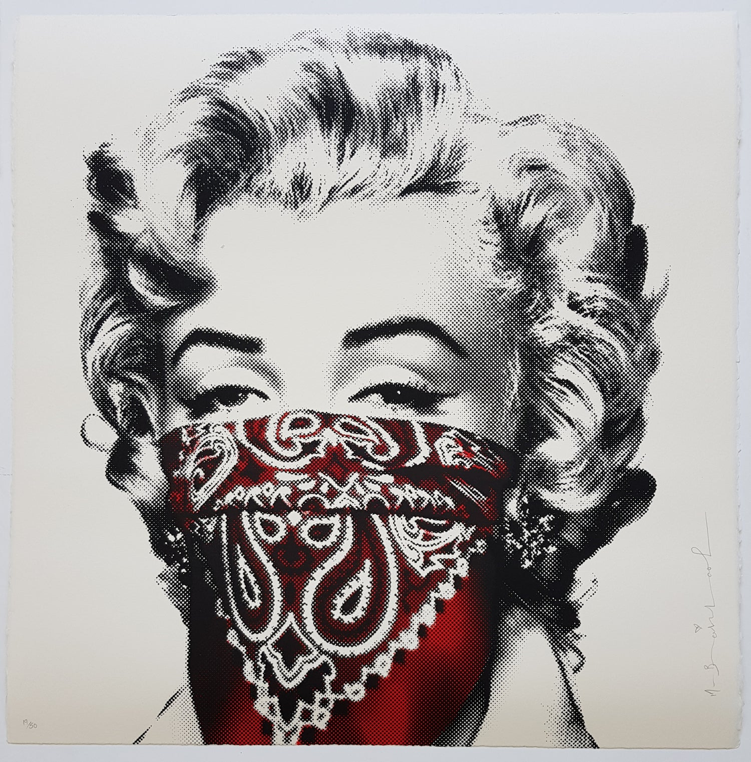 """Image of MR BRAINWASH """"STAY SAFE"""" RED - LIMITED EDITION 50 - 2 COLOUR SCREENPRINT"""