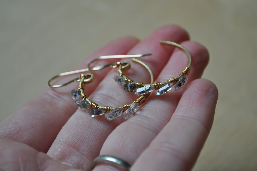 Image of Herkimer Diamond Half-Hoop Dangles