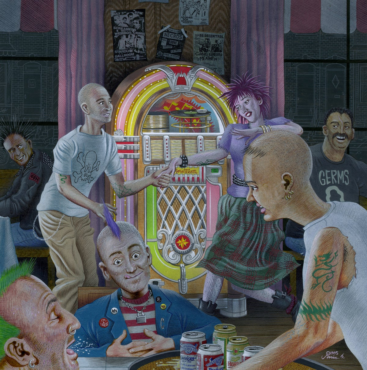 Image of PUNK ROCK JUKEBOX acrylic painting