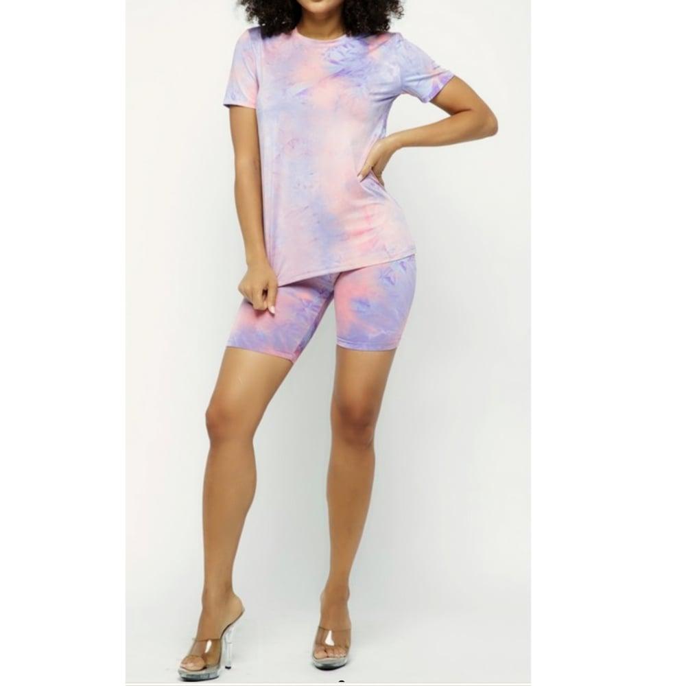 Image of Casual Biker Shorts Set (Tie-Dye Lavender)