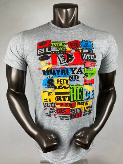 Image of Love DC GOGO - Gray Poster Patchwork Tshirt