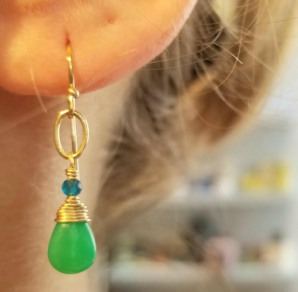 Image of 14k Gold-fill Chrysoprase and Apatite Earrings