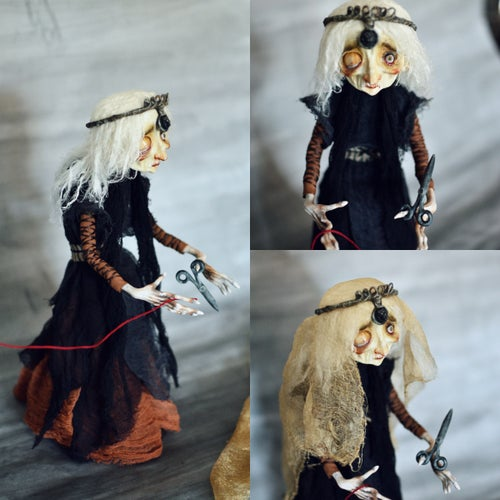Image of The Three Moirai: Daughters of the Night. OOAK Handmade Art Dolls - collaborative project.