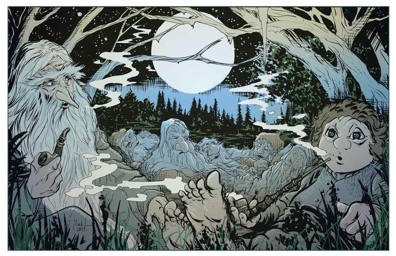Image of bilbo and gandalf animated 11x17 print *FREE SHIPPING*