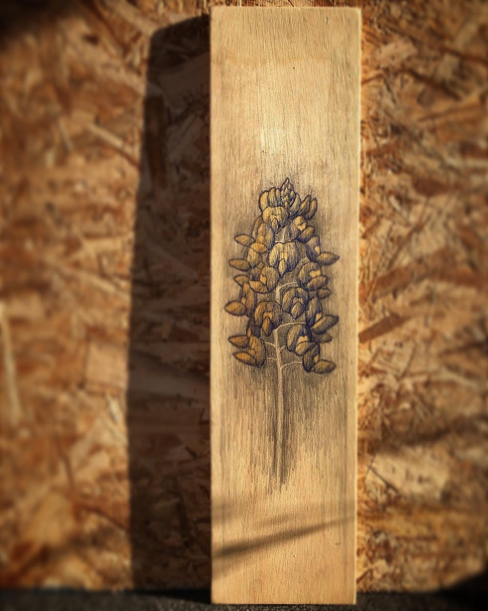 "Image of Blue Bonnet Mixed Media on Wood 6""X24"""