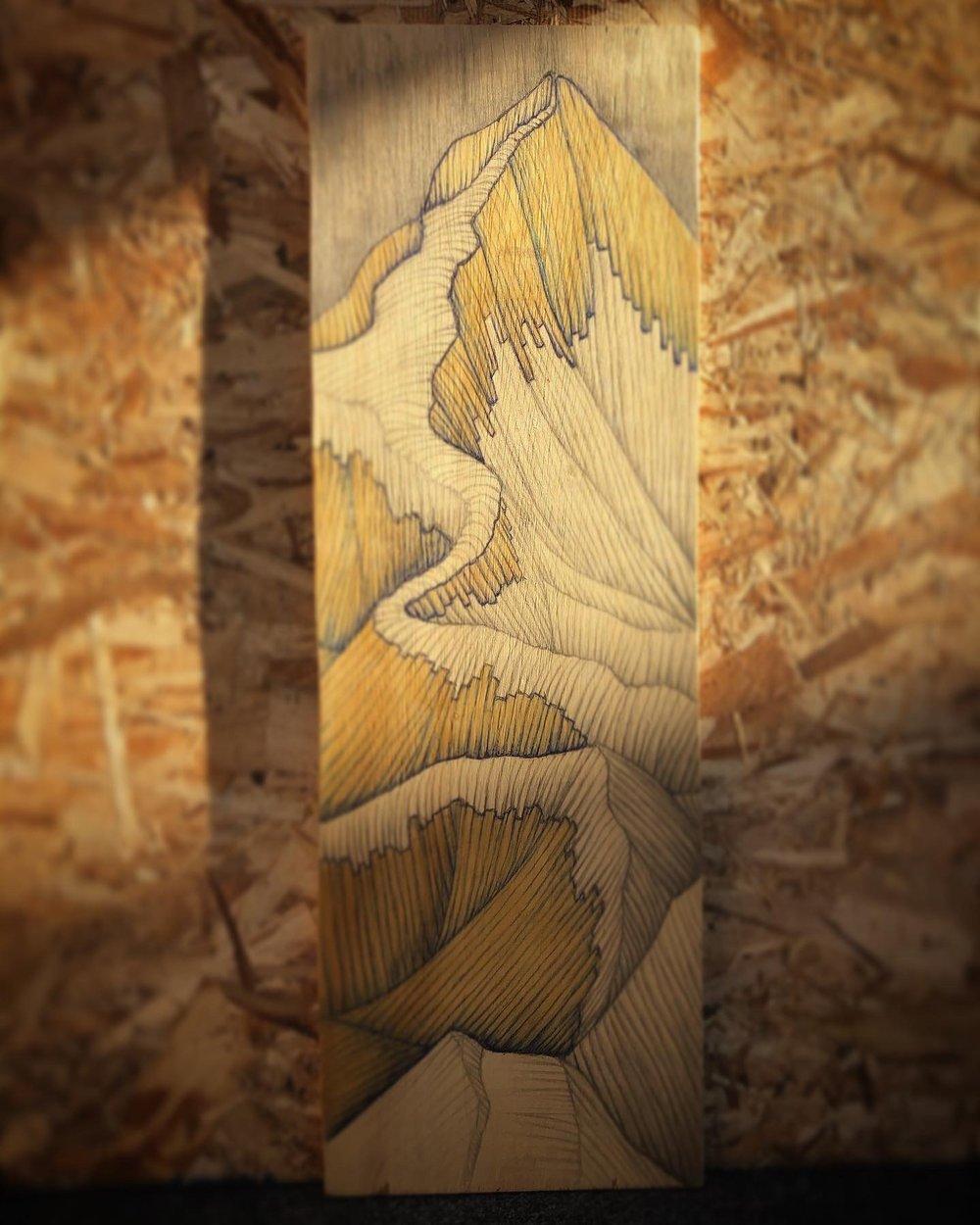 "Image of Mount Everest #1 Mixed Media on Wood 8""X24"""