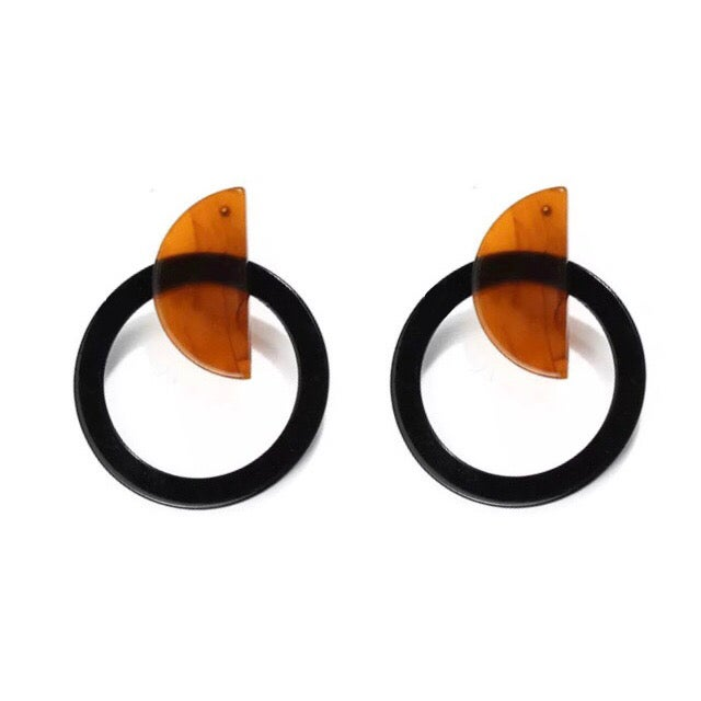 Image of Tortoiseshell & Black Statement Earrings