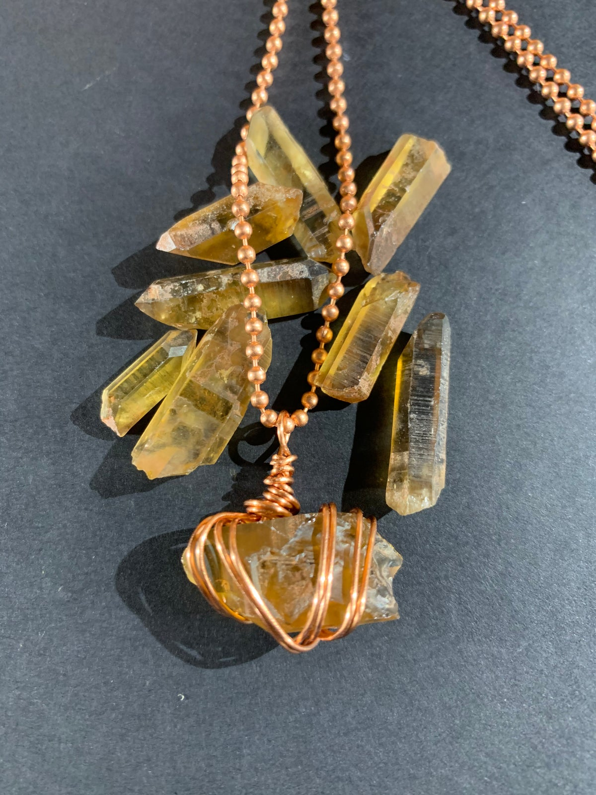 Copper Wrapped Citrine Necklace