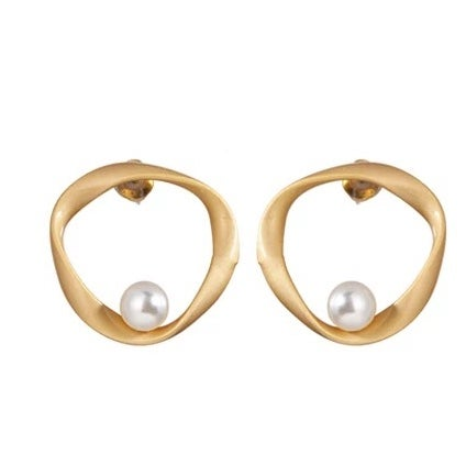 Image of Gold and Pearl Circular Studs