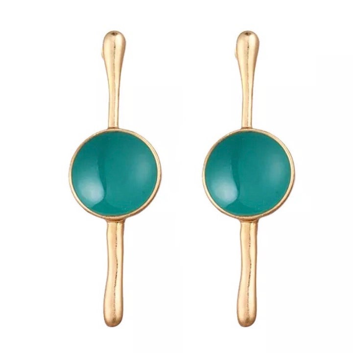 Image of Gold and Green Drop Earrings