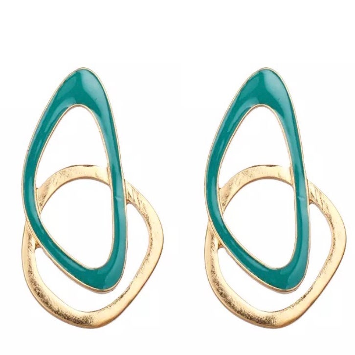 Image of Gold and Green Statement Earrings
