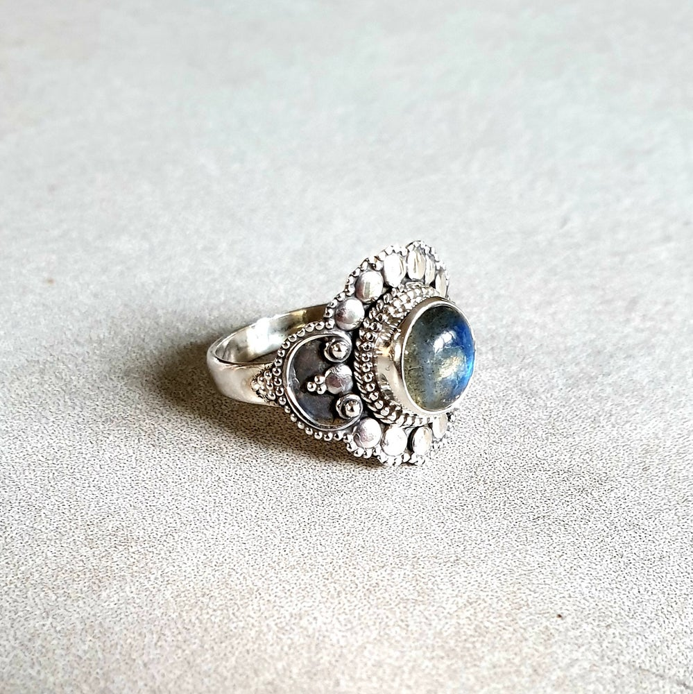 Image of LABRADORITE 'Trust' Sterling Silver Ring - Size 8