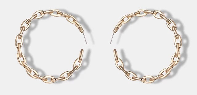 Image of Gold Link Hoop Earrings