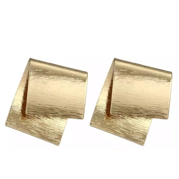 Image of Gold Folded Statement Studs
