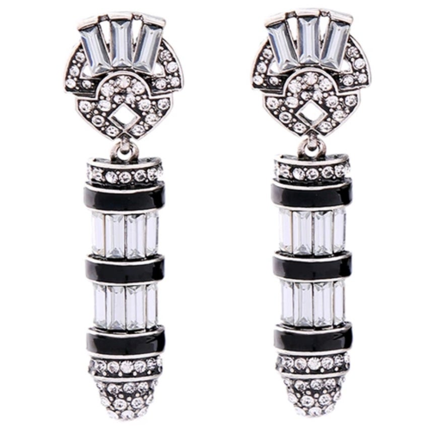 Image of Vintage Style Crystal and Silver Earrings
