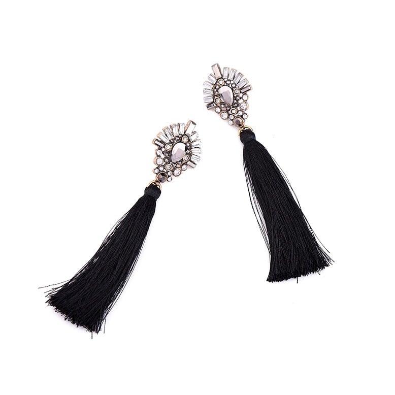 Image of Black Tassel and Crystal Studs