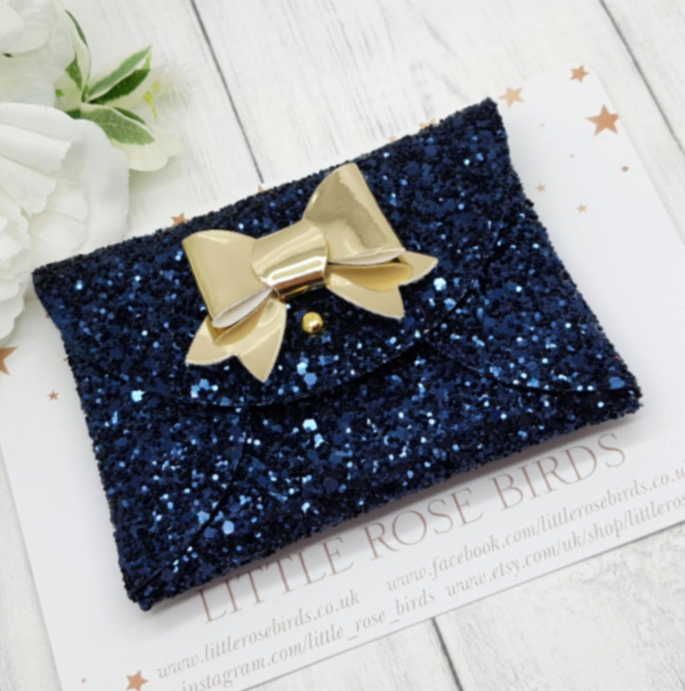 Image of Navy Glitter Coin Purse