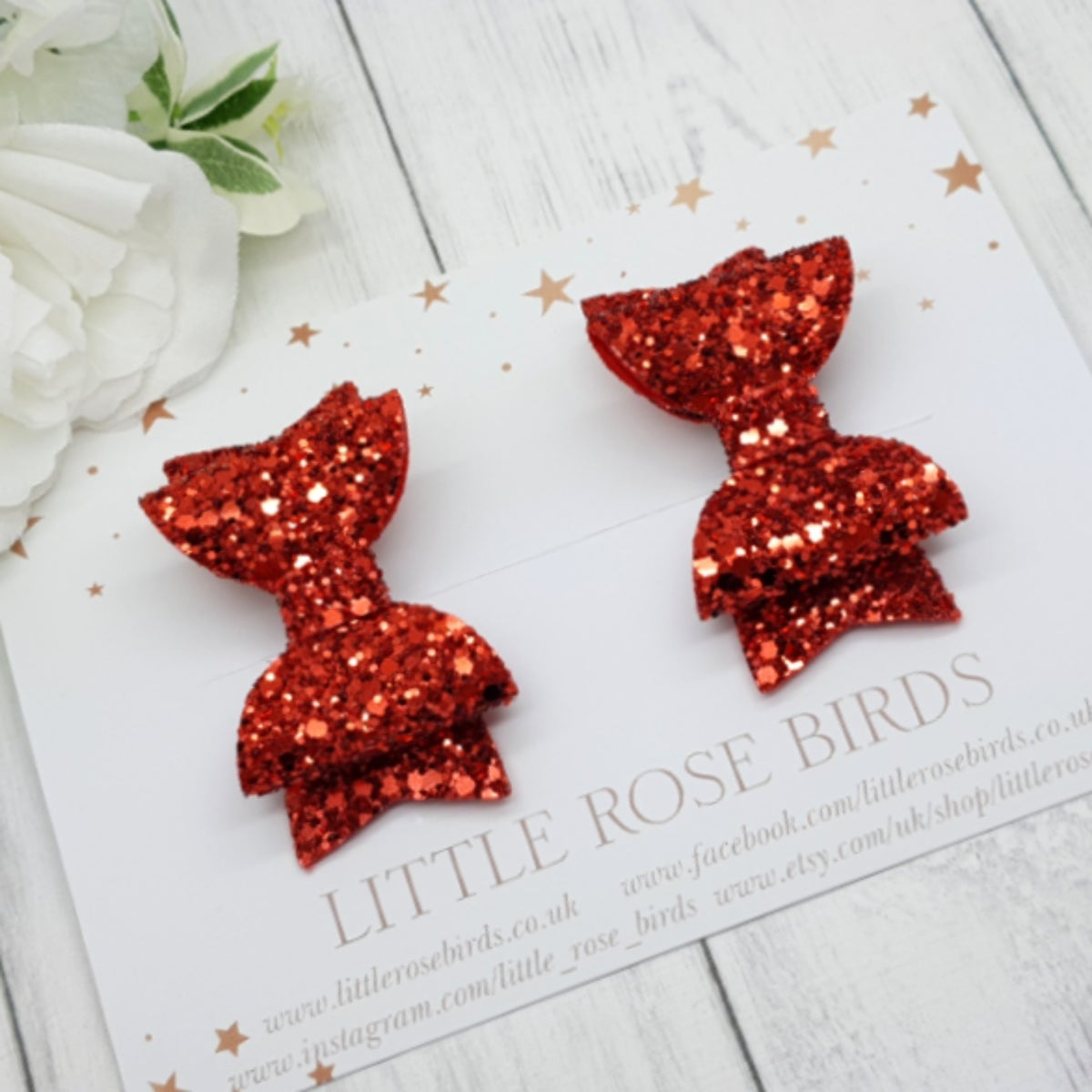 Image of Red Glitter Bow Pigtail Set