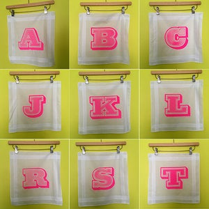 Image of It's Your Letter Hankie - neon pink