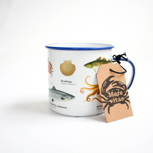 Image of Sealife Print Enamel Tin Mug