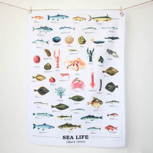 Image of Sealife Print Cotton Tea Towel