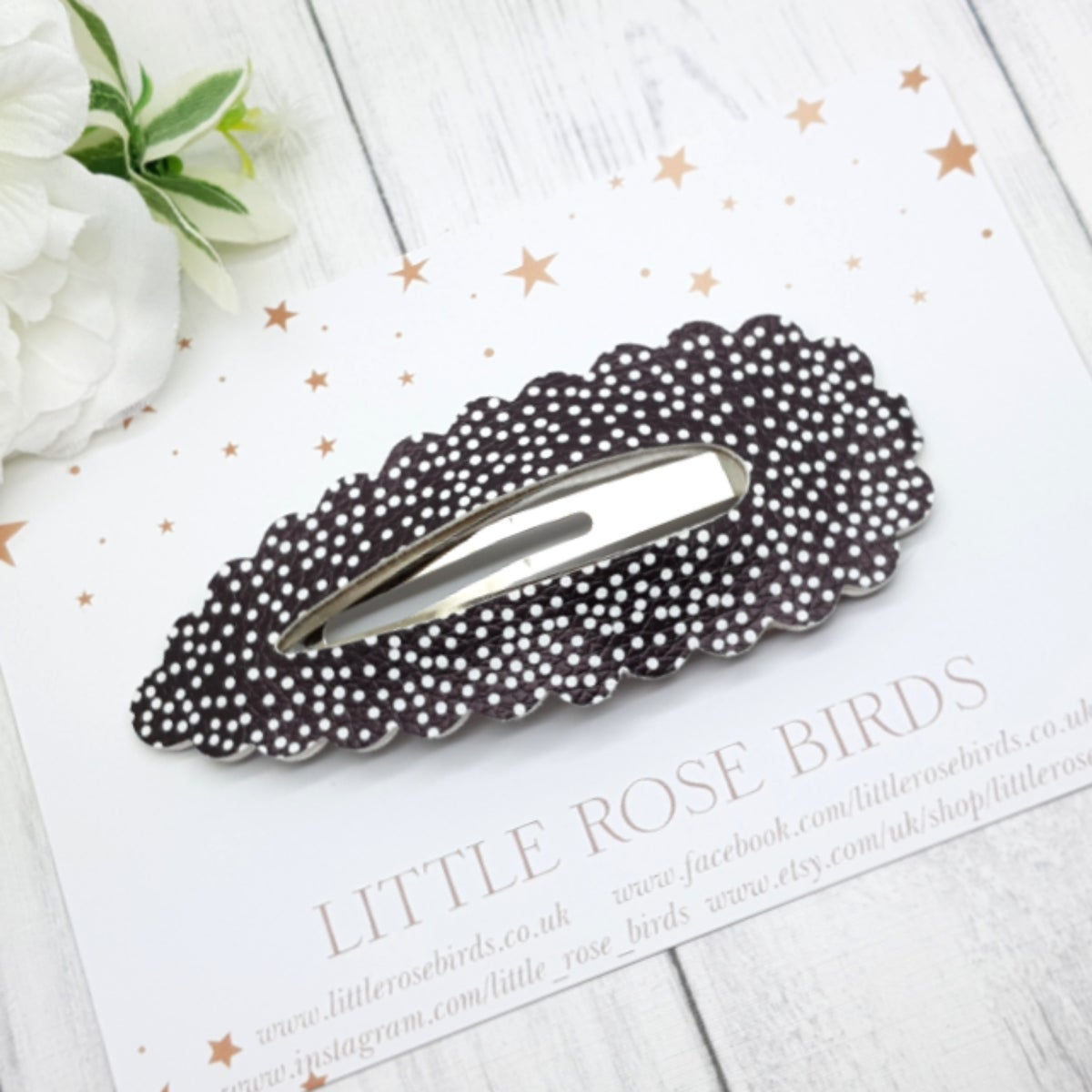 Image of Large Black Dotty Snap Clip